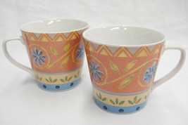 PTS Interiors Sanibel Lot of 2 Cups Mugs CP-RD-B Blue and Coral Zigzag F... - $14.84