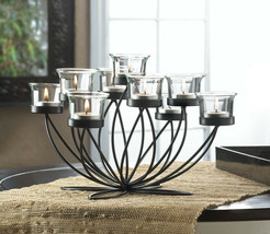 Black Iron Bloom Candle Holder Centerpiece with 9 Clear Candle Cups - $35.45