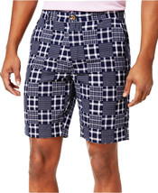 NEW MENS CLUB ROOM FLAT FRONT 9' PATCHWORK NAVY BLUE COTTON SHORTS 36 - $14.99