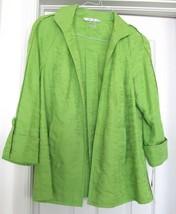 Peter Nygard Jacket Coat Unlined Cott Linen Blend 3/4 Raglan Sleeves Gre... - $39.95