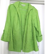 Peter Nygard Jacket Coat Unlined Cott Linen Blend 3/4 Raglan Sleeves Gre... - $39.95
