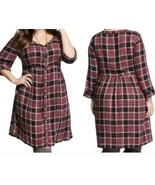 Torrid NWT Size 4 Red Plaid Shirt Dress with 3/4 Roll Tab Sleeve $58.50 - $36.96