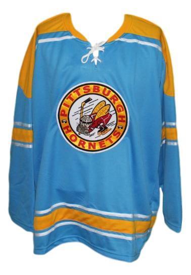 Custom pittsburgh hornets retro hockey jersey blue   1