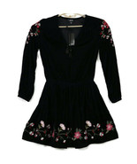 a.n.a Womens Dress Black Velour Size S Small Floral Embroidered Boho Pea... - $59.35
