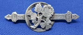 Victorian Thistle Clover Rose Silver Signed W.C.M. Bar Pin - $49.00