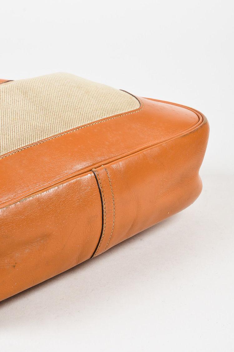 """VINTAGE Hermes Beige Tan Box Calf Leather Canvas """"Trim I"""" Shoulder Bag image 3"""