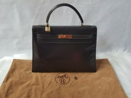 Authentic RARE HERMES Kelly 32 Chocolate Dark Brown Box Calf Leather Bag - $4,000.00