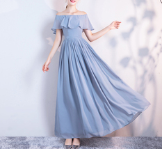 DUSTY BLUE Bridesmaid Dress 2019 Summer Chiffon Dusty Blue Bridesmaid Maxi Dress