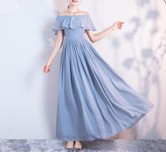DUSTY BLUE Bridesmaid Dress 2019 Summer Chiffon Dusty Blue Bridesmaid Maxi Dress image 1