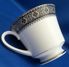 Noritake Segovia Footed Tea Cup 8 oz Black Scrolls on Gray Band Platinum... - $10.89