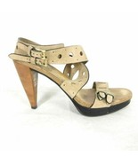 38.5 / 8 US - TOD'S Tods Tan Leather $615 Cut Out Platform Heels EUC 0000MB - $115.00