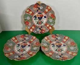 Arita IMARI FAN Salad Plate (s) LOT OF 3 Retired 1985 Japan Fine Porcelain - $49.45
