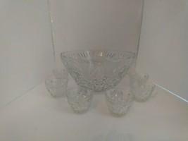 Anchor Hocking Glass Clear Vintage Arlington Punch Bowl, 12 Cups Set - $74.25
