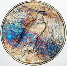 1923-P PEACE SILVER DOLLAR STRIKING COLORED UNC BU NATURAL TONED LUSTER ... - $197.99