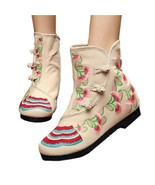 Vintage Beijing Cloth Shoes Embroidered Boots beige 35 - $37.99