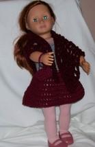 American Girl Burgundy 3 piece Outfit, Handmade Crochet, Poncho, Skirt, ... - $15.00