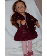 American Girl Burgundy 3 piece Outfit, Handmade Crochet, Poncho, Skirt, ... - $20.00