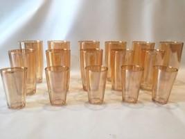 Lusterware Drinking Glass Set Lot Of 16 Vintage Orange Glasssware - $74.24