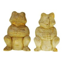 Pair of Vintage Rustic Hand Carved Wooden Frogs - $195.00