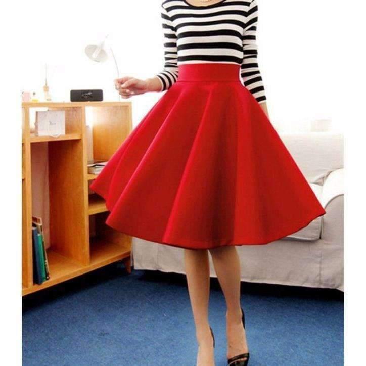 Isy dress for less midi skirts small red flared pleated umbrella women midi skirts 1397675655199