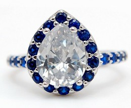 Buy Now 4CT Blue Sapphire & Topaz 925 Sterling Silver Ring Jewelry Sz 8 ... - $27.71