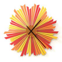 Large size stylish orange wooden wall clock - The Setting sun - $239.00