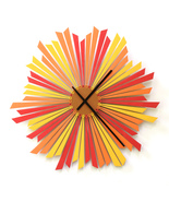 Large sized stylish orange wooden wall clock - The Setting sun - $229.00