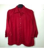Chaps Linen Shirt Red Button Down Womens Plus Size 1X - $39.59