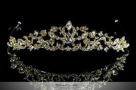 Nedda Art Deco Filigree Tiara | Gold | Swarovski Crystal - $65.95