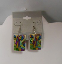 Mult-Color Hand Painted Rectangular Shell Fashion Hook Earrings - $16.99
