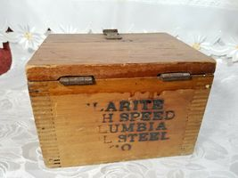 VINTAGE CLARITE HIGH SPEED COLUMBIA TOOL STEEL CO. WOODEN BOX image 3