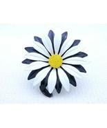 Vintage Very Large Black White Yellow Enamel Enameled Flower Brooch Pin - $39.60