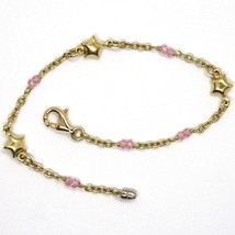 Bracelet Yellow Gold 18K 750 with Salomite Pink, Stars, Italy Made - $502.08