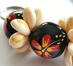 "Key chain Fob Hand Painted Nut and Shell 8"" Floral Black Red Yellow F92  - $6.92"