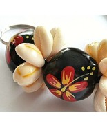 """Key chain Fob Hand Painted Nut and Shell 8"""" Floral Black Red Yellow F92  - $6.92"""