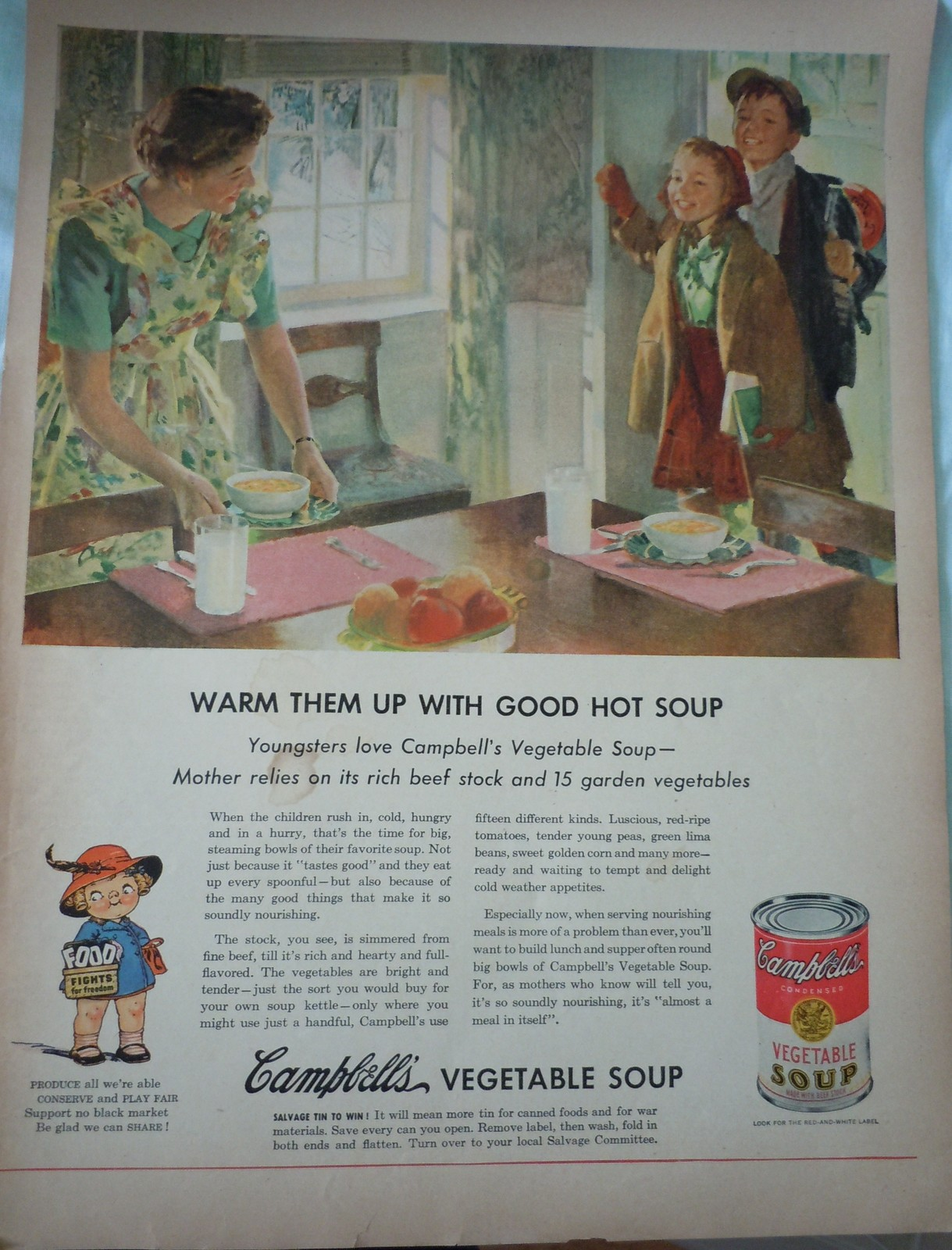 Campbell's Vegetable Soup Food Fights For Freedom WWII Advertising Print Ad Art