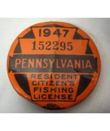 1947 Vintage Pennsylvania Resident Fishing License Pin - $9.99