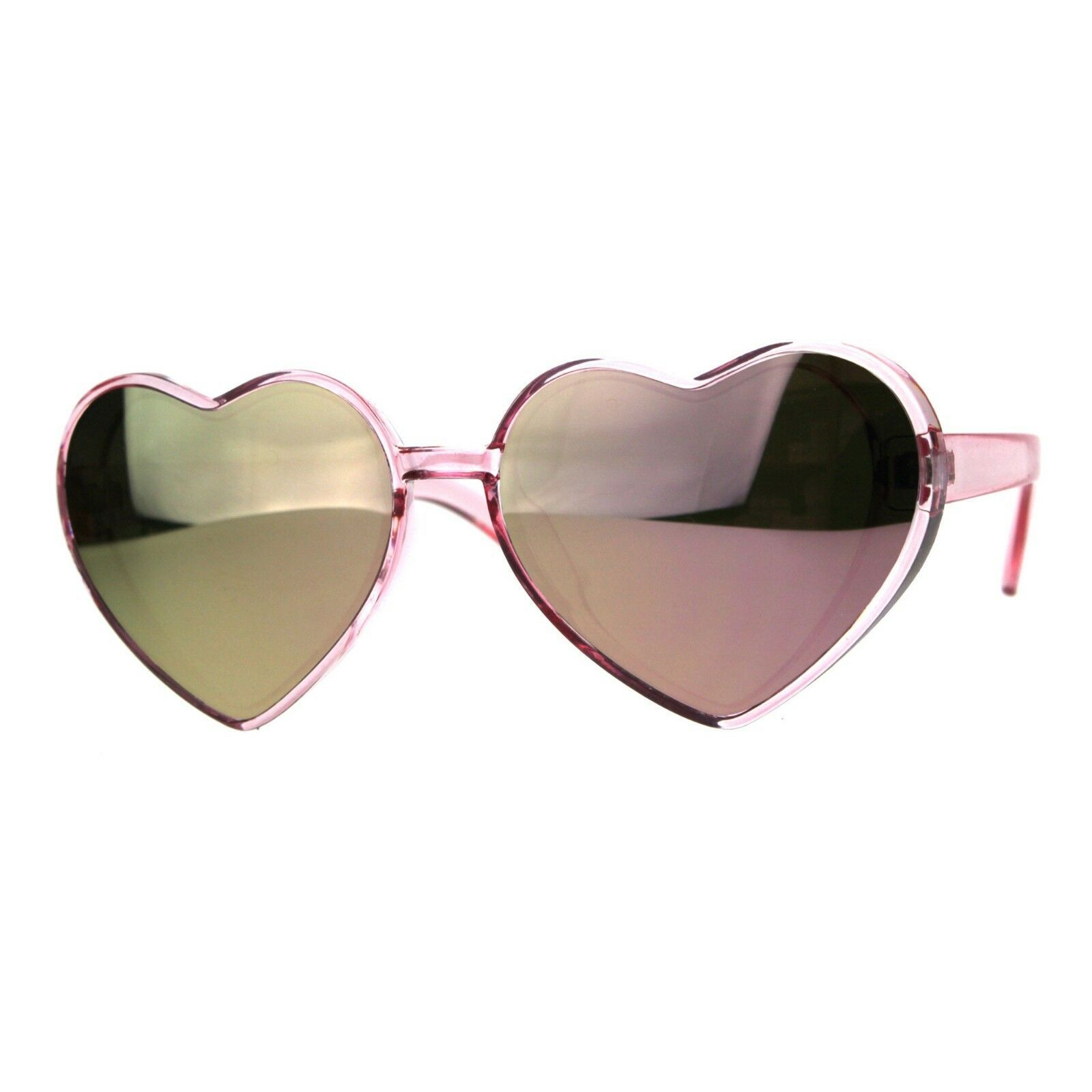 Oversized Heart Shape Sunglasses Womens Fashion Mirrored Lens Shades