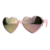 Oversized Heart Shape Sunglasses Womens Fashion Mirrored Lens Shades image 1