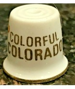 Vintage THIMBLE Colorful Colorado w/ Gold Band  with Bright Colored Flowers - $4.49