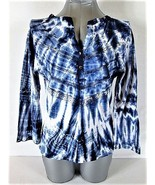 CHARLIE PAIGE WOMENS  P/M LONG SLEEVE BLUE WHITE TIE DYE STRETCH TOP BLO... - $19.88