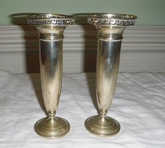 "A PAIR OF SILVER PLATE CANDLE STICKS/BUD VASES 6 5/8"" TALL ROMAN STYLE F... - $23.47"