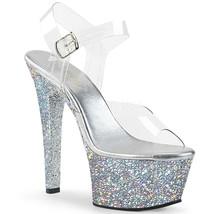 "PLEASER Sexy 6"" Heel Comfortable Holographic Glitter Platform Silver Wom... - $67.95"