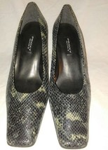 Proxy Leather Snake Print Pumps Heels Shoes Brown Size 9.5 Medium Soft C... - $25.16