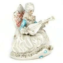 Gorgeous Vtg Mother-of-Pearl Dresden Lace Porcelain French Aristocrat Lute - $475.20