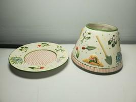 Yankee Candle Large Jar Shade Topper Chimney & Plate Garden Flower Pattern - $39.59