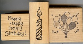 Lot of 3 Rubber Stamps I-196 D-898 E-123-HK Balloons Birthday & Candle B2 - $6.89