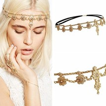 Flower Tassel Head Jewelry 2018 Women Fashion Elegant Rhinestone Elastic... - £6.40 GBP