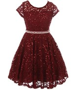 Big Girls' Short Sleeve Lace Glitter Skater Pearl Belt Special Occasion ... - $36.62