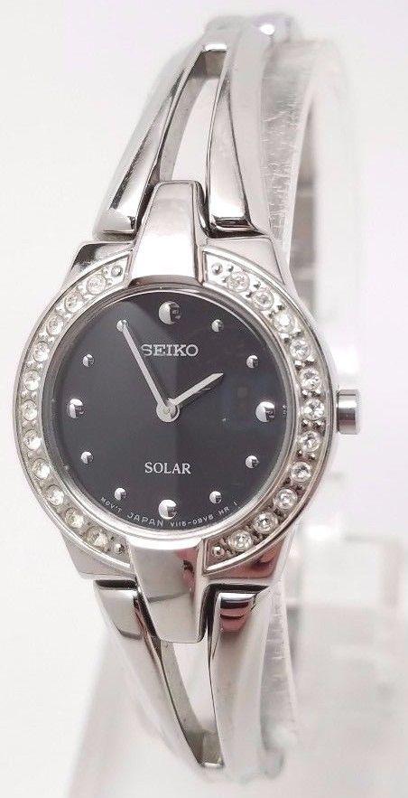 Ladies Seiko Solar Silver Stainless Steel Black Dial Swarovski Watch SUP205 for sale  USA